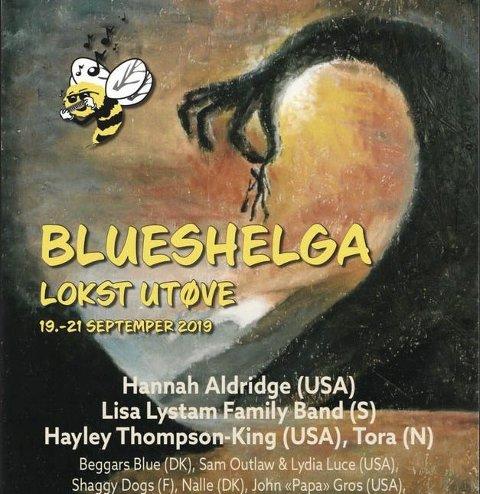 Fjorårets Blueshelg-plakat.