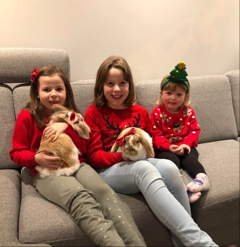 Søstrene Alma (7), Ella (10) og Olea Olsen Dahl (3) fra Namsos har ei lang ønskeliste til jul. – Vi skjønner hvis du ikke kan komme på besøk på julaften, siden det er koronatid. Det går bra hvis du bare setter sekken med gaver utenfor, mener de tre.