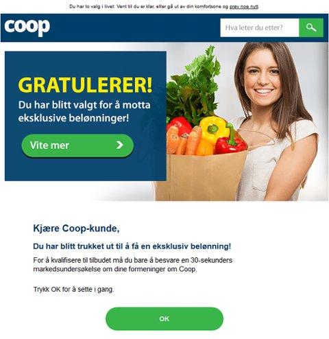 Spam-melding sendt med avsender som ser ut som om det kommer fra Coop. Dette er et svindelforsøk, og Coop ber mottakere om ikke å trykke på linken. Foto: Coop / NTB scanpix