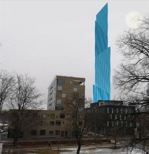 I sentrum: Slik vil Store blå se ut plassert ved det nye knutepunktet i Porsgrunn