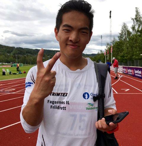 Opptur: Etter motgang ei periode løsnet det endelig for Sondre Matias Rudi, som vant 100 meter i gutter 18/19 år på Veidekkelekene søndag.
