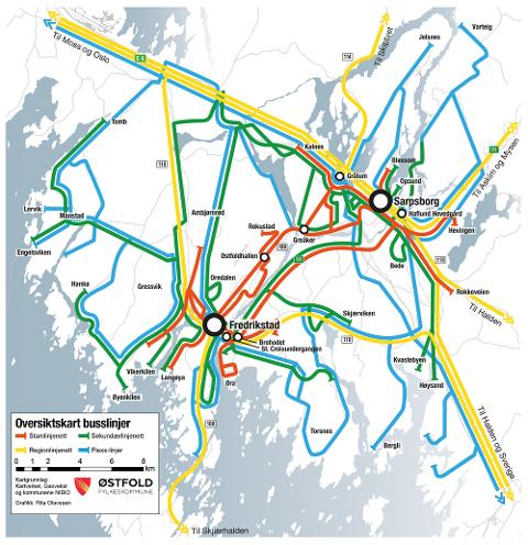 Her er forslaget: Slik ser det foreslåtte rutekartet ut. (Illustrasjon: Østfold fylkeskommune/Rita Olavesen)