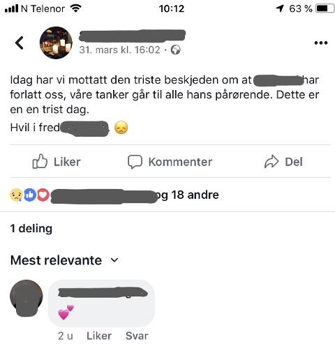 MYSTERIET: Dette la utestedet ut på siden sin på Facebook allerede søndag 31. mars, men den avdøde 75-åringen ble ikke funnet før lørdag 6. april. - Det er litt av mysteriet for oss, sier etterforskningsleder i politiet, Per-Oskar Rønningen.
