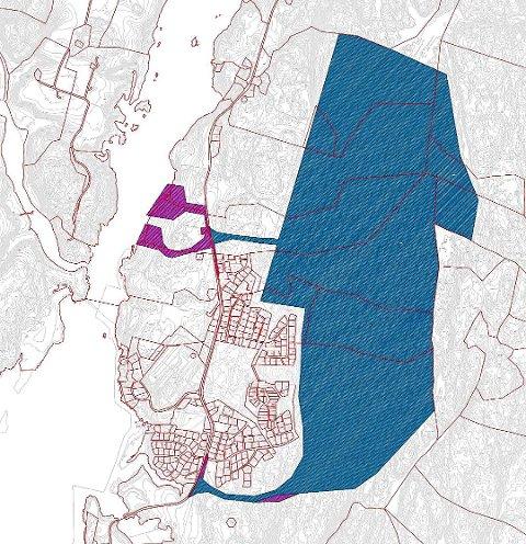 Dette er kartet over området på Hasle som reguleres til bruk for et stort datasenter. Det blå feltet er det opprinnelige området på cirka 1.500 dekar. Området ned mot Glomma, markert i lilla, utgjør rundt 60 dekar. Det trenger en for å kunne hente kjølevann. Atle Midtgård i Rødt Sarpsborg mener det planlagte datasenteret på Hasle er et risikoprosjekt. «De usikkerhetene som ligger i dette prosjektet er så store at kommunen ikke bør realisere planene», skriver han i dette innlegget. (Foto: Sweco)