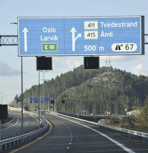 Fartsgrensen på E18 mellom Tvedestrand og Arendal kan bli 120 km/t.
