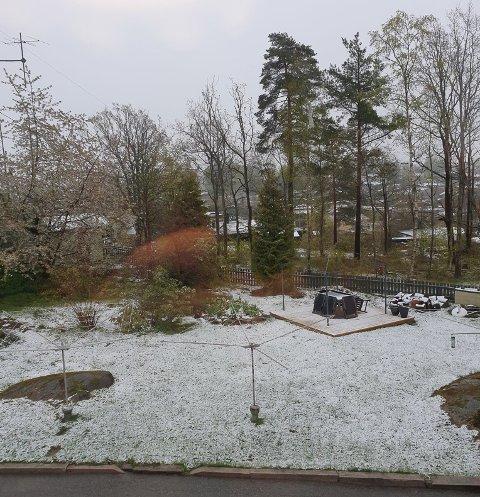 Snøen la seg på Heer i morgentimene.
