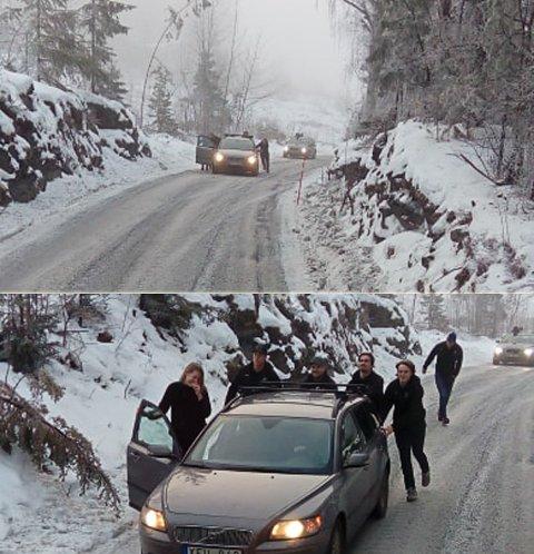 Panthers: Bilføreren fikk hjelp til å komme seg opp bakken.