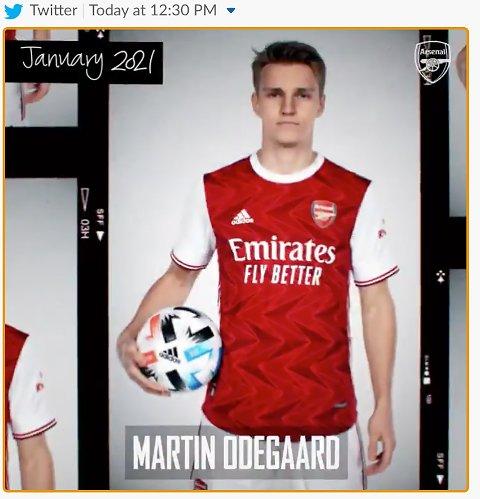 Oslo 20210127.  Faksmile fra Arsenal på Twitter: Fotballspilleren Martin Ødegaard presenteres i Arsenal drakt på Arsenals Twitter konto etter å ha inngått en avtale med den engelske klubben. Ødegaard vil være på utlån fra Real Madrid frem til sommeren. Foto: Twitter/faksimile / NTB