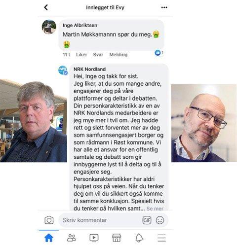 Dialogen på Facebook, med rådmann på Røst, Inge Albriktsen (t.v.) og NRK-profil Martin Steinholt (t.h.).