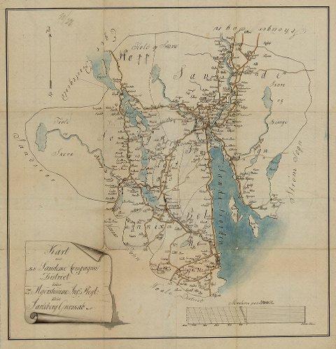 Som kartet viser var regionen Sande, Hof og Botne/Holmestrand i 1800 en del av Jarlsberg amt, skriver innsenderen.