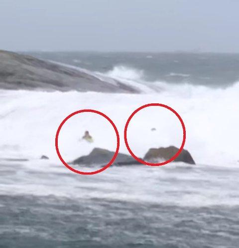 Her vises to av de tre mennene som ble tatt av den frådende sjøen ved Atlanterhavsveien søndag.