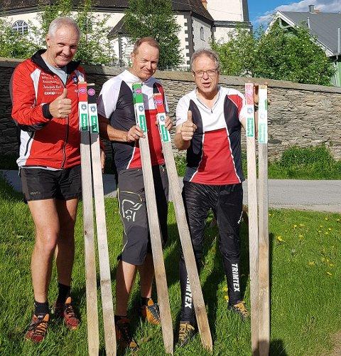 KLAR FOR JAKT: O-gruppa i Røros IL, her representert ved Terje Schjølberg (f.v), Frode Sjøvold og Petter Gullikstad er klar med ny stolpejakt.