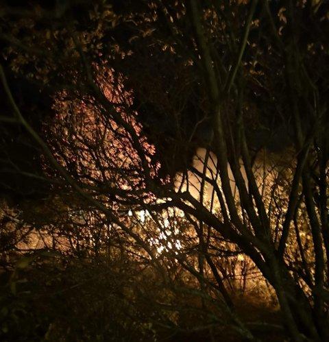 SOFA I BRANN: Her står sofaen i fyr og flamme midt i gata i Sørkjosen. Foto: Nordlys-tipser