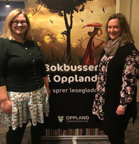 PÅ GJØVIK: Anne-Marte Kolbjørnshus (t.v.) og Tone Nyseter, synes det er stas at fylkesbiblioteket får adresse Gjøvik.