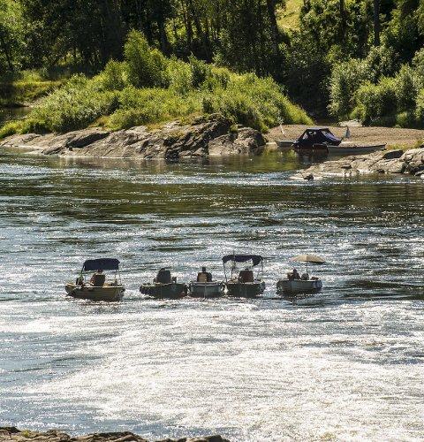 Populært: «Stria» i Holmfoss er et yndet fiskested.