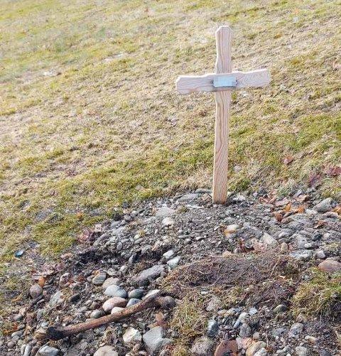 VARSLET: Ragnhild Blomseth (64) fikk ikke tak i kirkekontoret, og varslet derfor politiet etter beinfunnet på grava i Follafoss. Beinet stammer mest trolig fra ei gammel grav som er brukt på nytt.