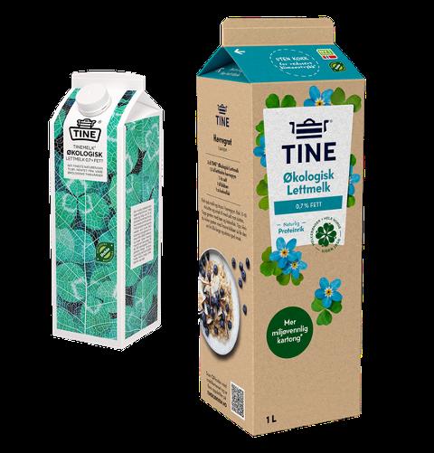 Tine lanserer sin økologiske melk i en enda mer miljøvennlig kartong uten plastkork.