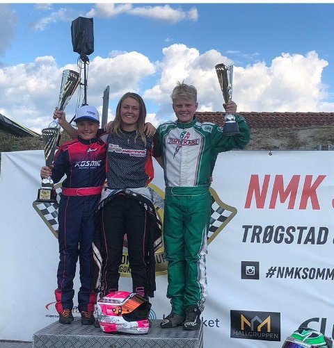 GLADE FARTSFANTOMER: Theo Eriksen fra Fetsund, Mina Pedersen og Felix Heiberg (t.h.) gjorde sine saker godt i Trøgstad. ALLE FOTO: PRIVAT