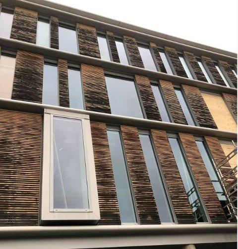 MÅ BYTTES UT: Det har blitt brukt vanlige furu for å lage spilene på fasaden til Helsebygget i Lillestrøm. Å vedlikeholde disse er for dyrt, og derfor skal de i stedet byttes ut.