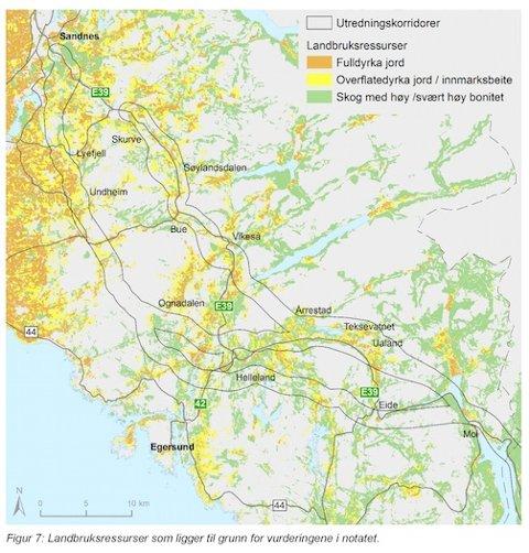 Dette kartet viser områda dei tre vegalternativa vil øydeleggja, og kor mykje jord det er på strekningane.