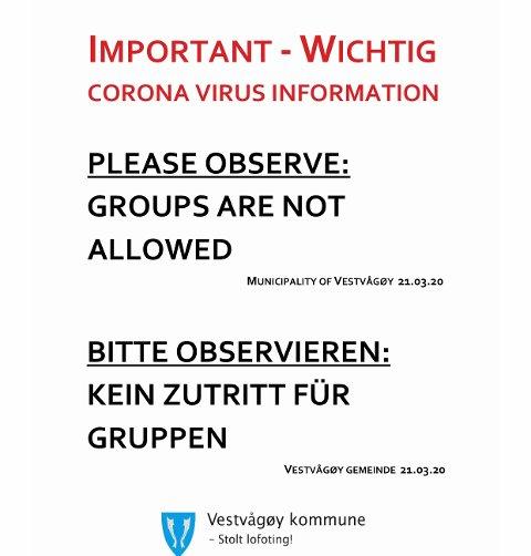 INFORMASJON: Denne plaktaten ber kommunen butikkeiere om å sette opp.