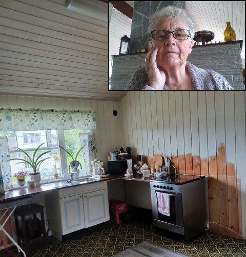 UFERDIG: Store deler av kjøkkenet til Aud Torun Stensrud (innfelt) har blitt revet i påvente av at det nye skal komme. Det har tatt lengre tid enn hun ble lovet.