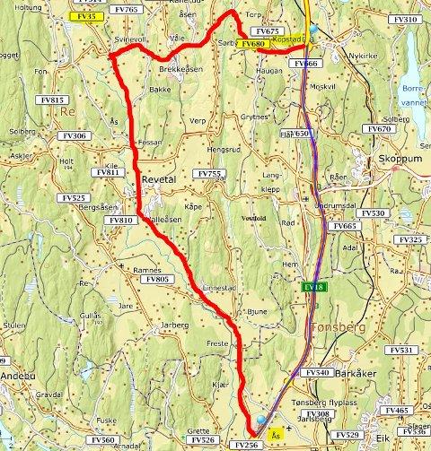 OMKJØRING: Bispeveien, fra Ås til Kopstad via Svinevoll, blir omkjøringsruten når E18 nattestenges.