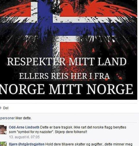 «Minner om NS»: Dette bildet med norske farger og slagordet «Norge mitt Norge» vekker reaksjoner. Bildet ute på Fagerengs offentlige Facebook-profil.  (Skjermdump)
