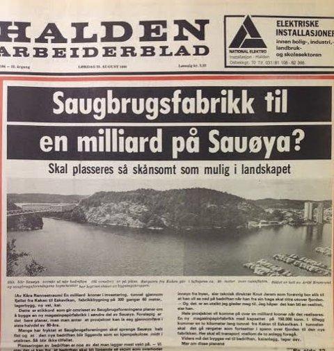 Store planer: Her er den planlagte magasinpapirfabrikken tegnet inn på et fotografi over Indre havn og Sauøya.