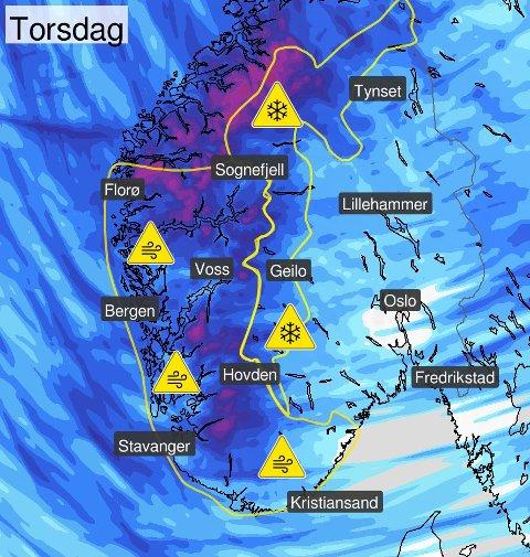 MYE VIND: Dette bildet la meteorologene ut på sin Twitter-konto onsdag.