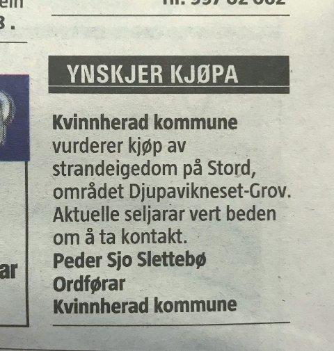 ANNONSE: Slik såg annonsa i Sunnhordland ut på fredag.