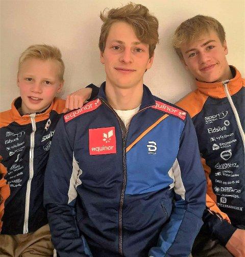 I BRORENS FOTSPOR: Vetle (t.v) og Sindre (t.h) har lyst til å bli like gode som storebror og NM-vinner Ansgar Evensen.