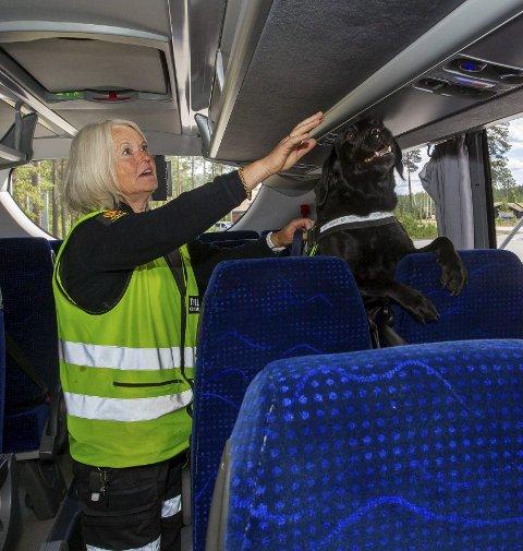 På søk: Torun Kristiansen og Mick gjennomsøker bussen.