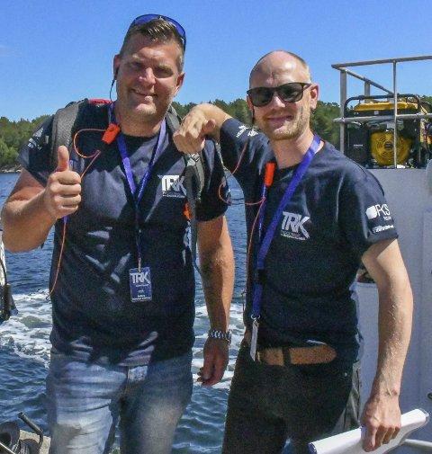 Sikkerhets-ansvarlig Kristian Knutsen og regattaleder Axel Dalen kan se tilbake på en regatta, med drømmevær og ingen alvorlige uhell.