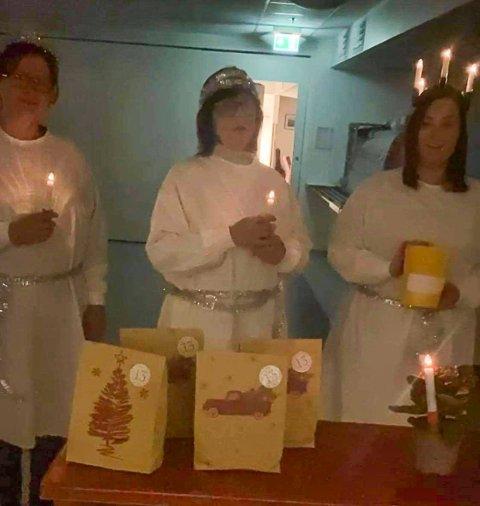 LUCIA: Glimt fra Sigdalsheimen julekalender som Hilde Hulbak, Bente Weggesrud og Ida Hoffart gledet ansatte med i advent.