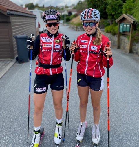 Søstrene Ane og Nora ute på en aldri så liten treningstur mandagen etter blinkfestivalen.