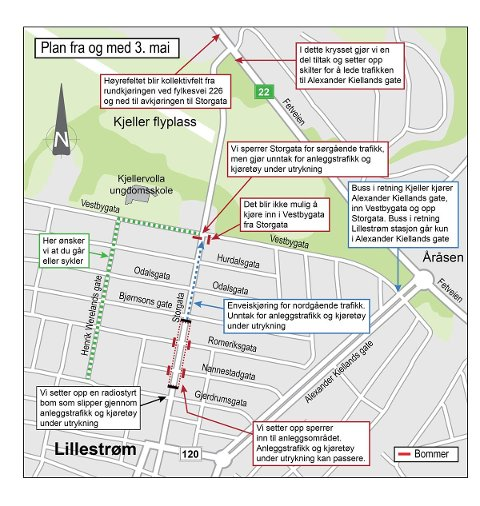 PLAN: Kartet viser hvilke trafikktiltak som skal iverksettes i og ved Storgata.