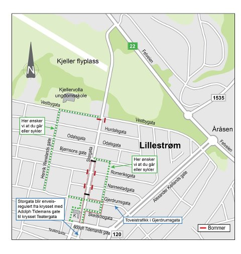 NYE RUTER: Slik skal man fra mandag av gå og kjøre i og rundt Storgata i Lillestrøm.