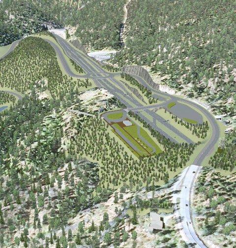 Fem tilbydere vil prosjektere veiprosjektet Bjørum-Skaret. Her fra området like sør for Skarettunnelen, hvor det blant annet planlegges stor rasteplass. Illustrasjon: Statens Vegvesen