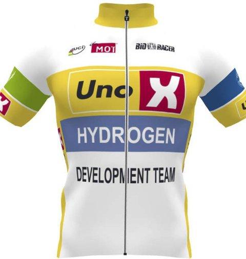 Drakta til nye sykkellaget Uno-X Hydrogen Development Team som ble presentert i Stavanger i helgen.