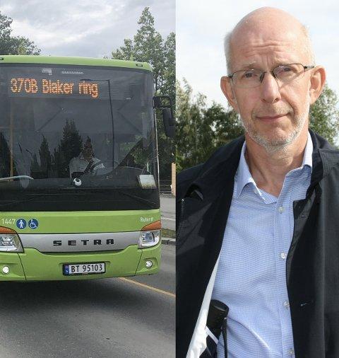 LEI: Harald Ringstad har sett seg lei på å miste bussen fra Sørumsand stasjon mot Blaker. FOTO: Tine Viktoria Buberg