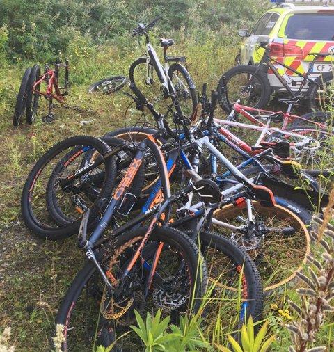 ANTATT STJÅLET: Disse syklene ble funnet i skogen ved Dal skole søndag. Politiet ber folk som kan kjenne igjen syklene om å henvende seg til politiet.