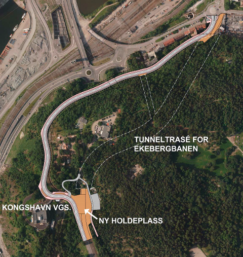 NY TRASÉ: Skissen viser hvor tunnelen kan komme og hvor den nye holdeplassen plasseres.