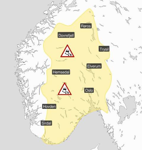 FAREVARSEL: Kjør forsiktig torsdag! Meteorologisk institutt har sendt ut farevarsel.