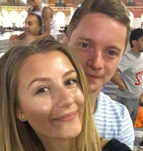 I NICE: Malin Fjeldbu (24) og kjæresten Mattias Kristiansson (24)