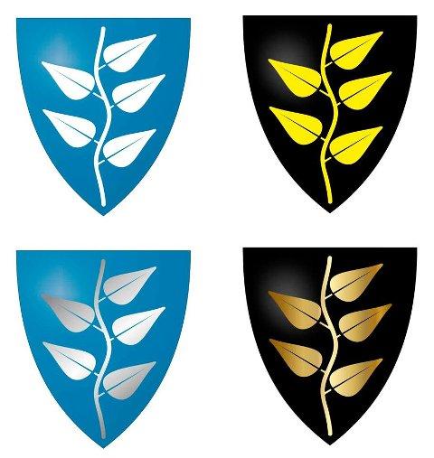 Nytt forslag: Her er Bjørn Mørks forslag til nytt kommunevåpen. Han har laget ulike alternativer som viser at fargene kan justeres både på skjold og våpen.