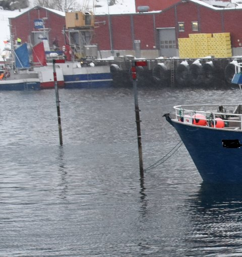 FORBUDT: Fartøy som ligger i leveringskø bruker merkestanga til å fortøye båten mens de venter. Dette er forbudt, og båteier kan blir erstatningspliktig