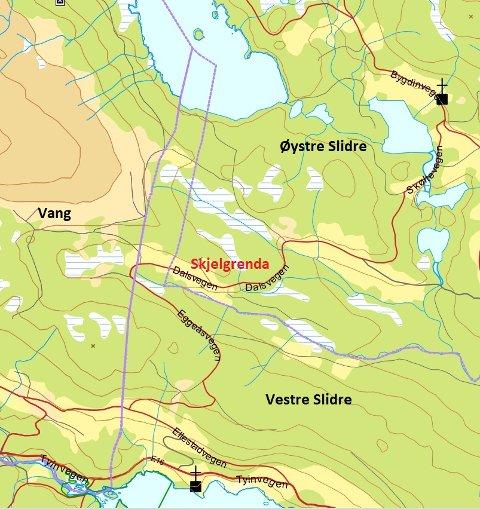NY KOMMUNEGRENSE: Frå 1. januar 2021 vart kommunegrensene mellom Øystre Slidre og Vestre Slidre kommunar endra, og Skjelgrenda vart ein del av Øystre Slidre. Dei lilla linjene er kommunegrensene.