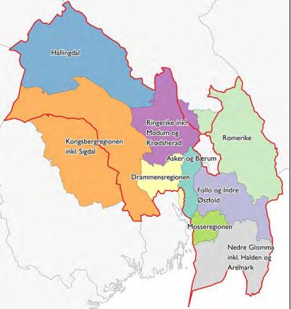 Forslag: Ni regioner i Viken fylkeskommune, med Lunner som en del av Romerike og Jevnaker som en del av Ringerike, med Krødsherad og Modum.