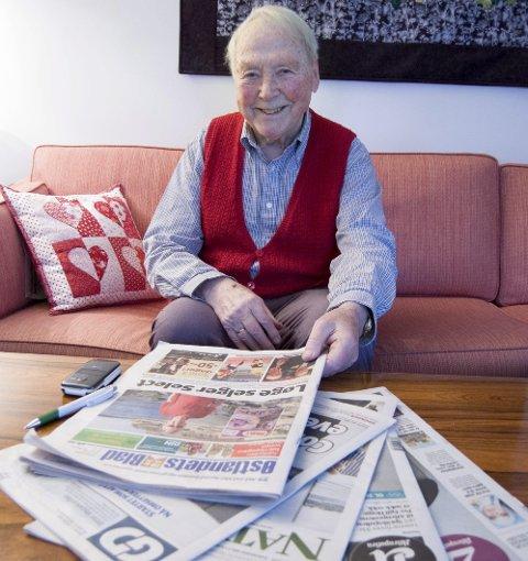 Viktig stemme: Arne Ellingsberg er et kjent navn for alle som leser ØB. Sp-veteranen har vært en viktig stemme på debattsiden til avisen i 50 år – og 89-åringen har ingen planer om å sette bort PC-en.